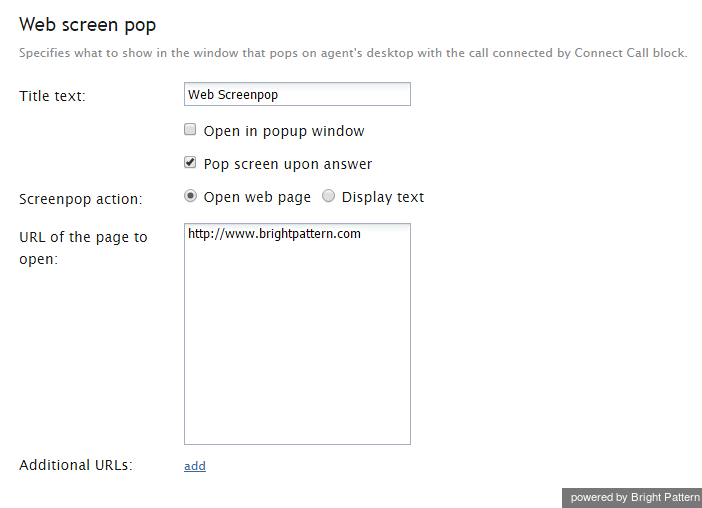 Configure settings for Web screen pop