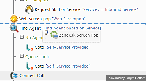 Web screen pop and Zendesk screen pop blocks placed together in scenario