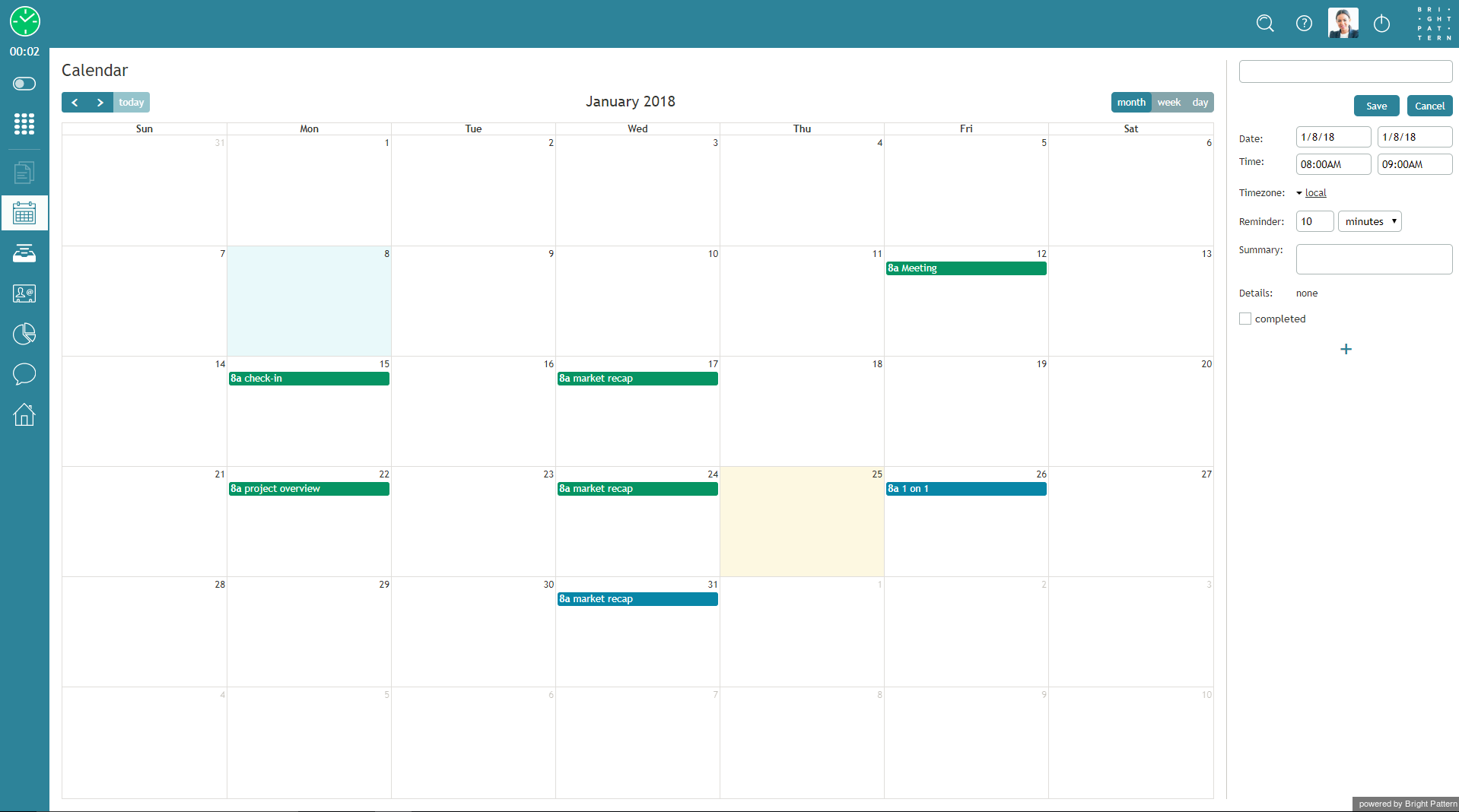 5 2:Agent-guide/CalendarViews - Bright Pattern Documentation