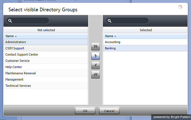 Two directory groups are made visible to the team.