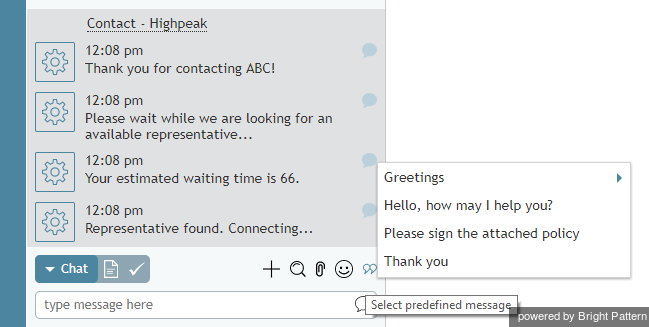 Selecting a predefined message in the chat window