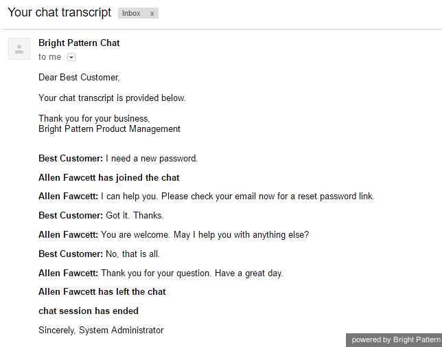 The chat transcript emailed to the customer